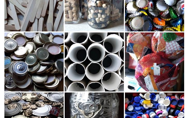 Verzameling recreatiemateriaal, recycle goed, afval ter hergebruik